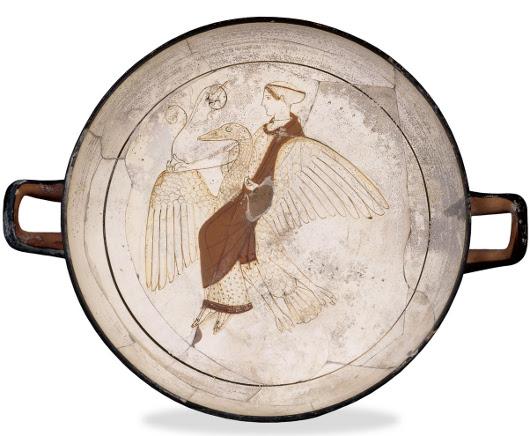 Αφροδίτη πάνω σε χήνα, περ. 470 - 460 π.Χ., βρέθηκε στην Κάμειρο της Ρόδου, Βρετανικό Μουσείο (Λονδίνο). Φέρει τις επιγραφές: ΑΦΡΟΔΙΤΗ - ΓΛΑΥΚΟΝ ΚΑΛΟΣ